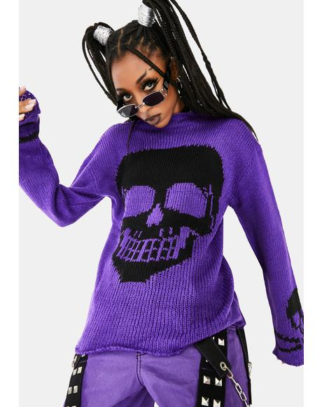 Purple Knit Skull Sweater