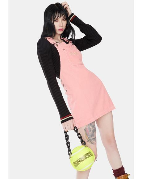 Pink Corduroy Dungaree Dress