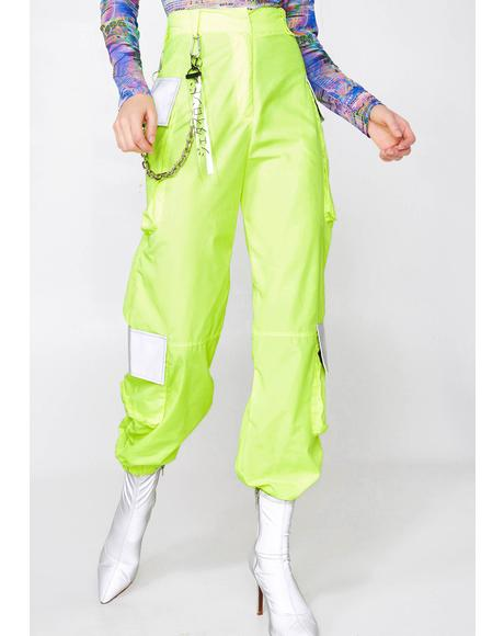 Neon Oversized Cargo Trousers With Reflective Detail