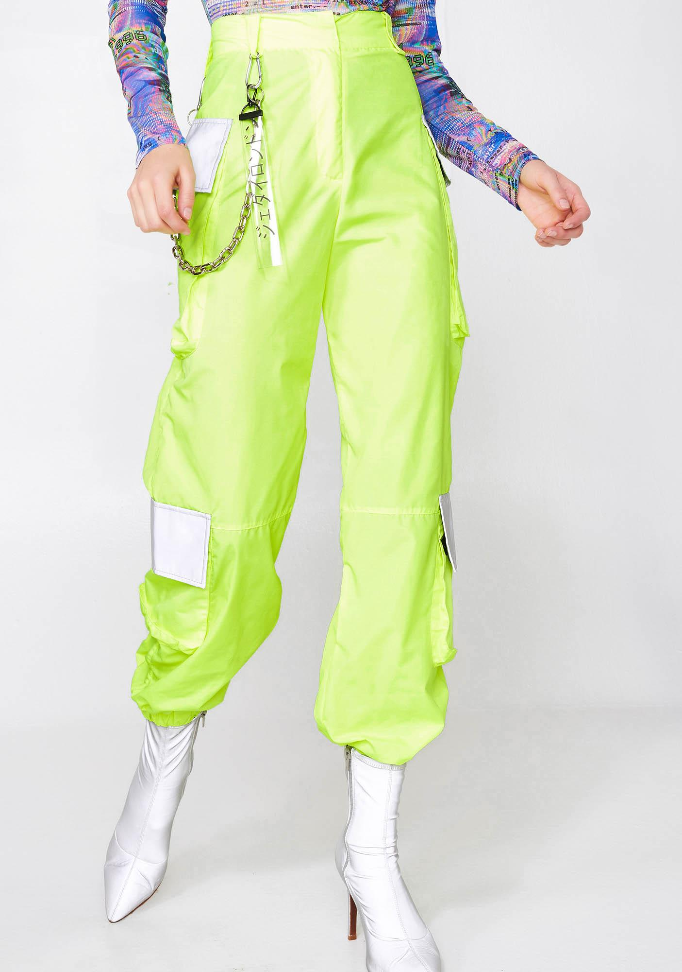 Jaded London Neon Oversized Cargo Trousers With Reflective Detail