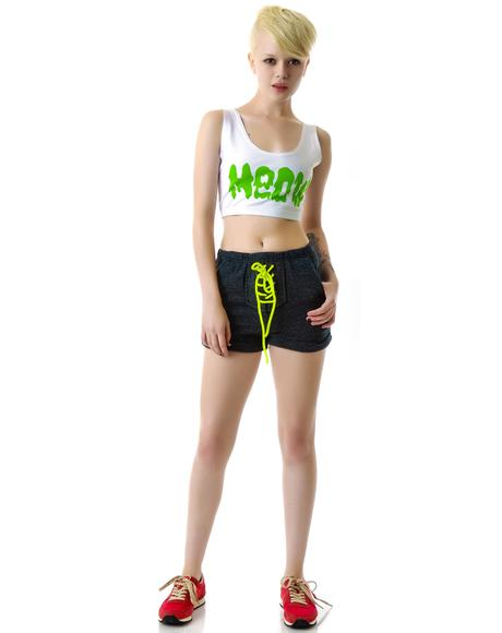 Neon Brite Laced Up Sweat Shorts