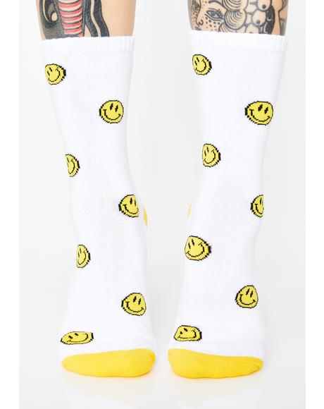 Upside Down Frown Crew Socks