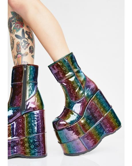 Prismatic Soul Stomper Holographic Stack Boots
