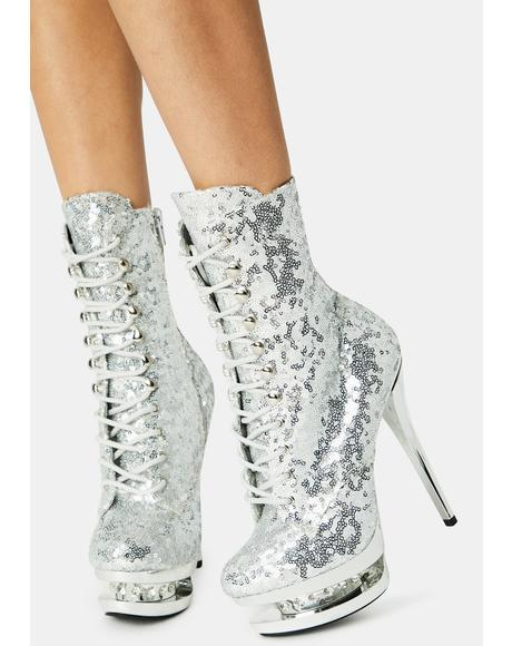 Chrome Check Me Out Platform Heels