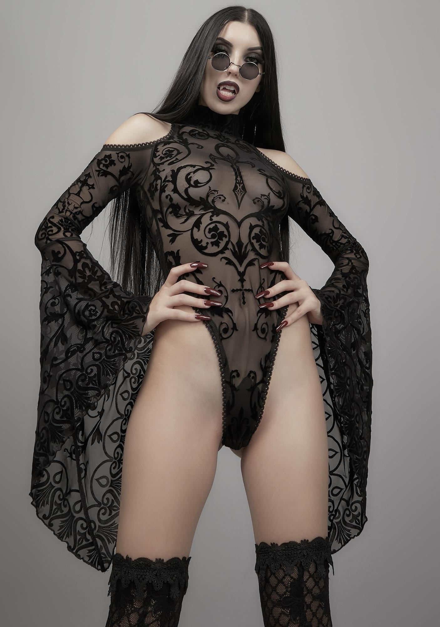 Widow Midnight's Embrace Mesh Bodysuit