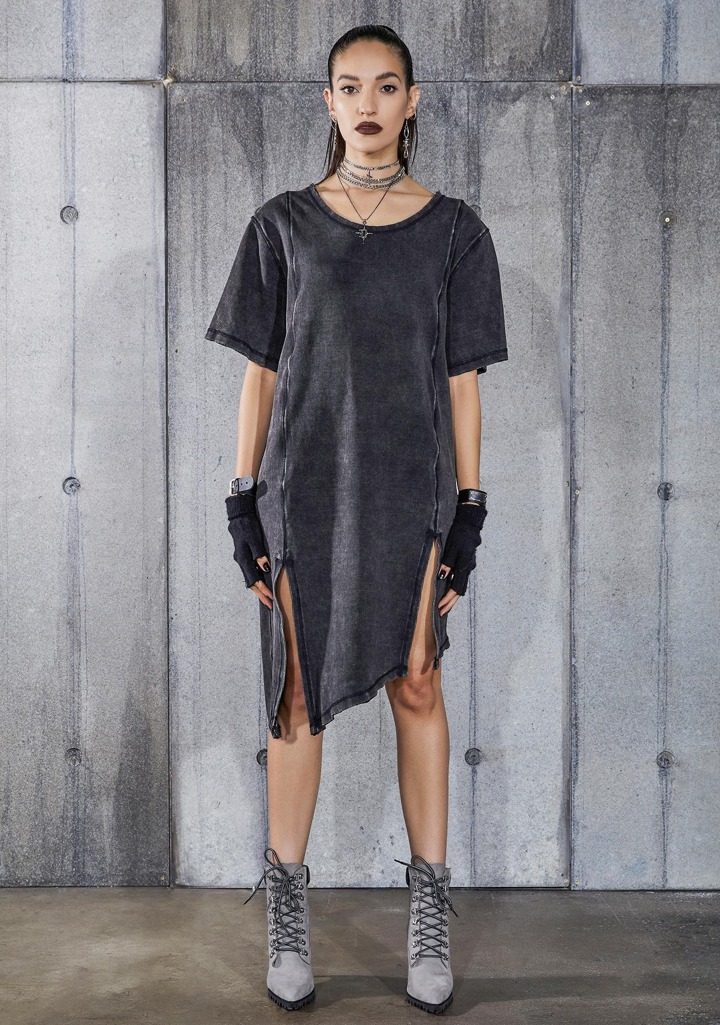 DARKER WAVS Snare Washed Black Double Slit Longline T-Shirt