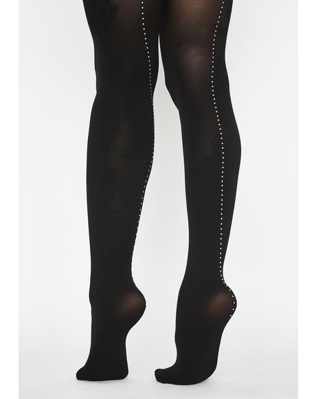 Rhinestone Backseam Opaque Tights