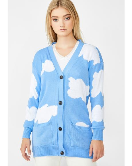 Cloud Intarsia Boyfriend Cardigan