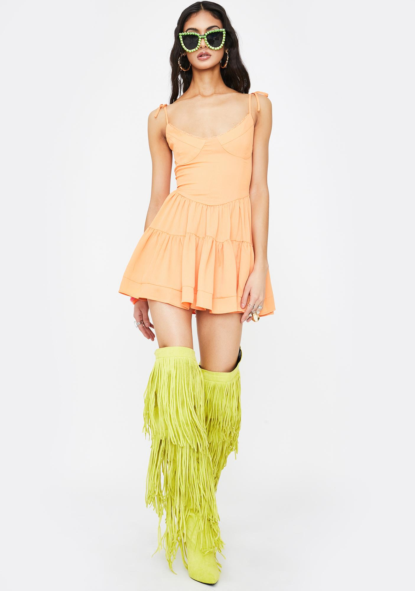 Tiger Mist Orange Bijou Mini Dress