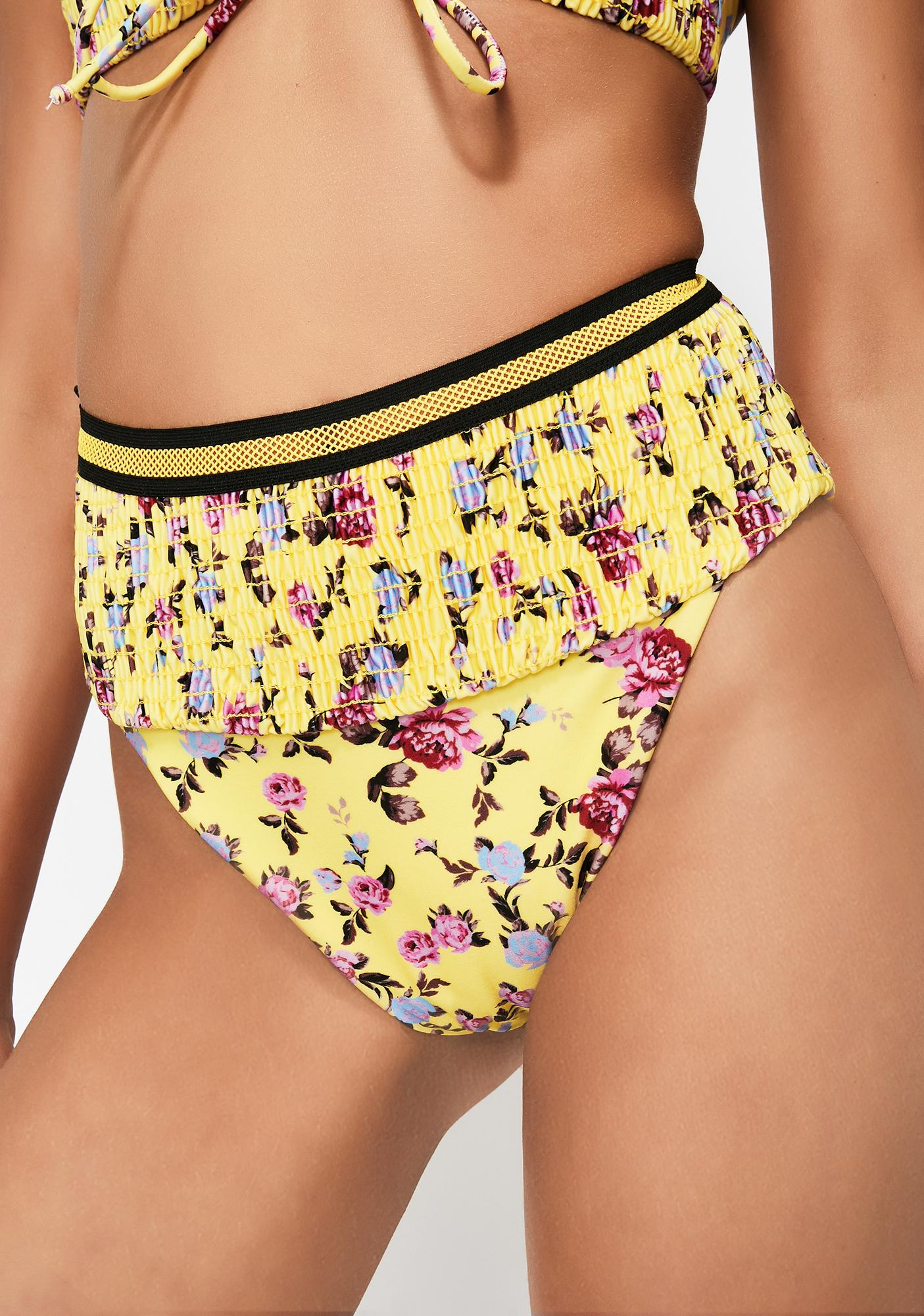 For Love & Lemons Paulina Ruched Bikini Bottoms