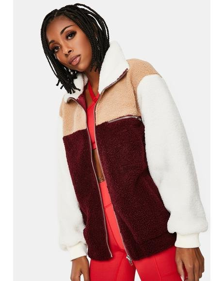 Paint The Town Colorblock Teddy Jacket