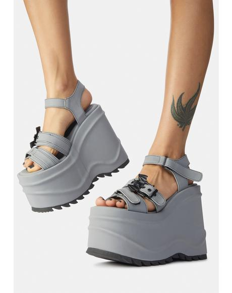 Gray Creature Of Hell Platform Sandals