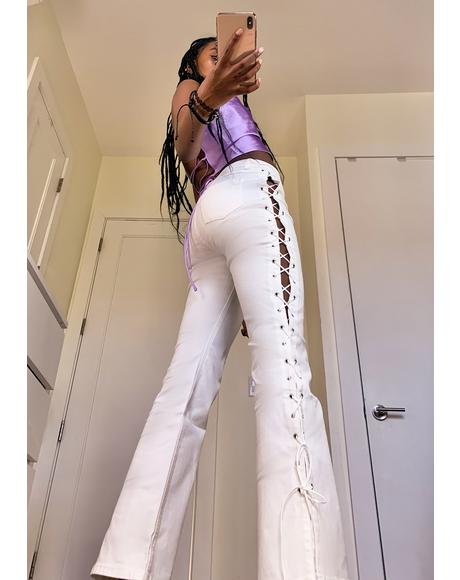 Back In Action Lace Up Jeans