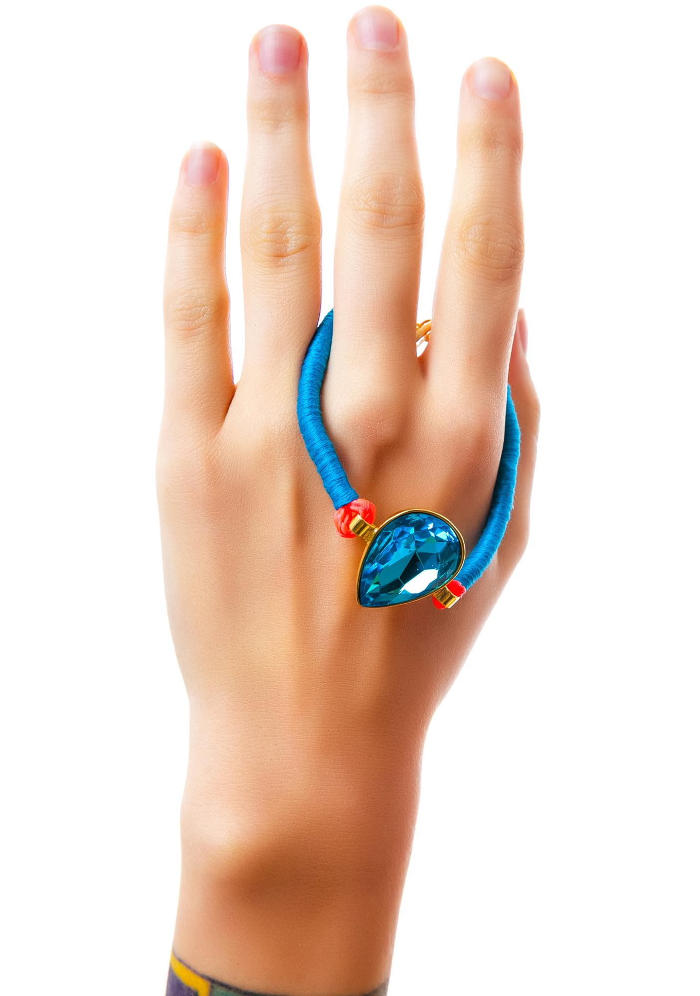 Ettika Tara Turquoise Tear Drop Bolo Cord Bracelet