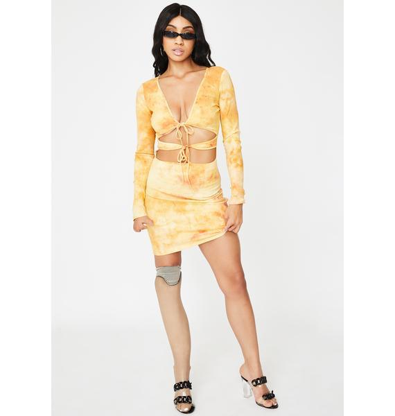 I AM GIA Yellow Tie Dye Gabriella Mini Dress