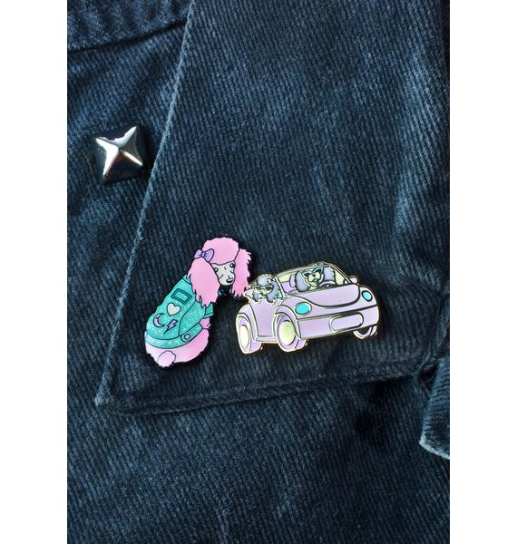 Unicorn Rockstar Cruisin Poodles Pin
