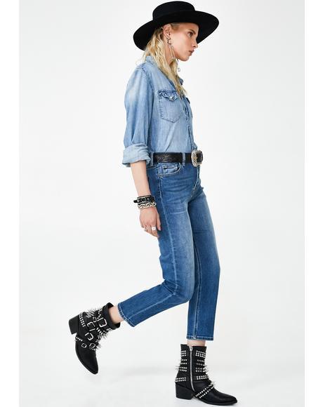 Tracey Medium Wash Mom Jeans