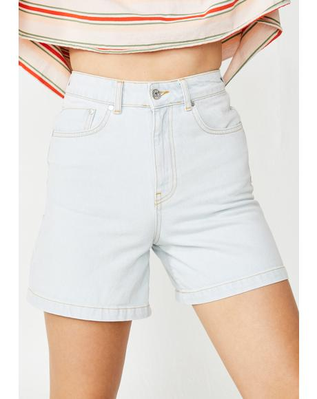 Stone Wash Skater Denim Shorts