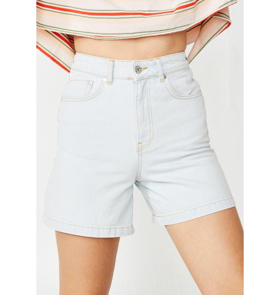 The Ragged Priest Stone Wash Skater Denim Shorts