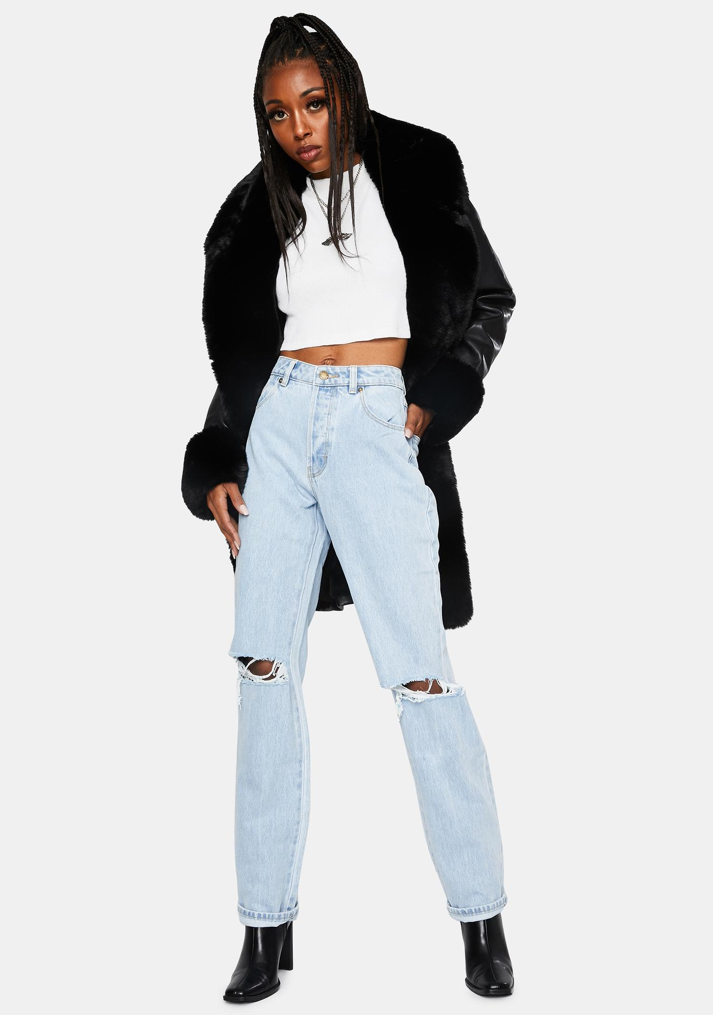 Rollas Nina Worn Organic Classic Straight Denim Jeans