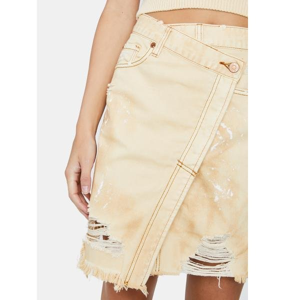 Free People Butter Cream Parker Wrap Skirt