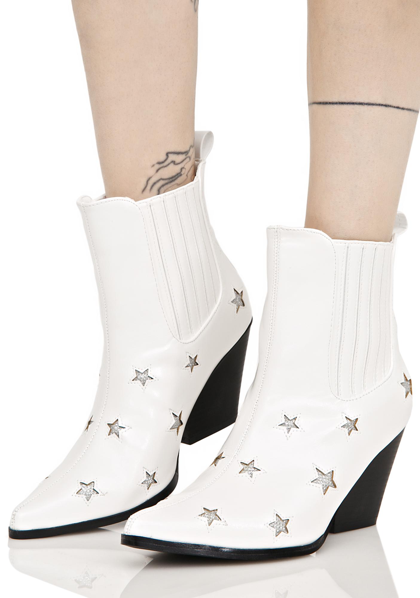 White Vegan Leather Stars Ankle Boot