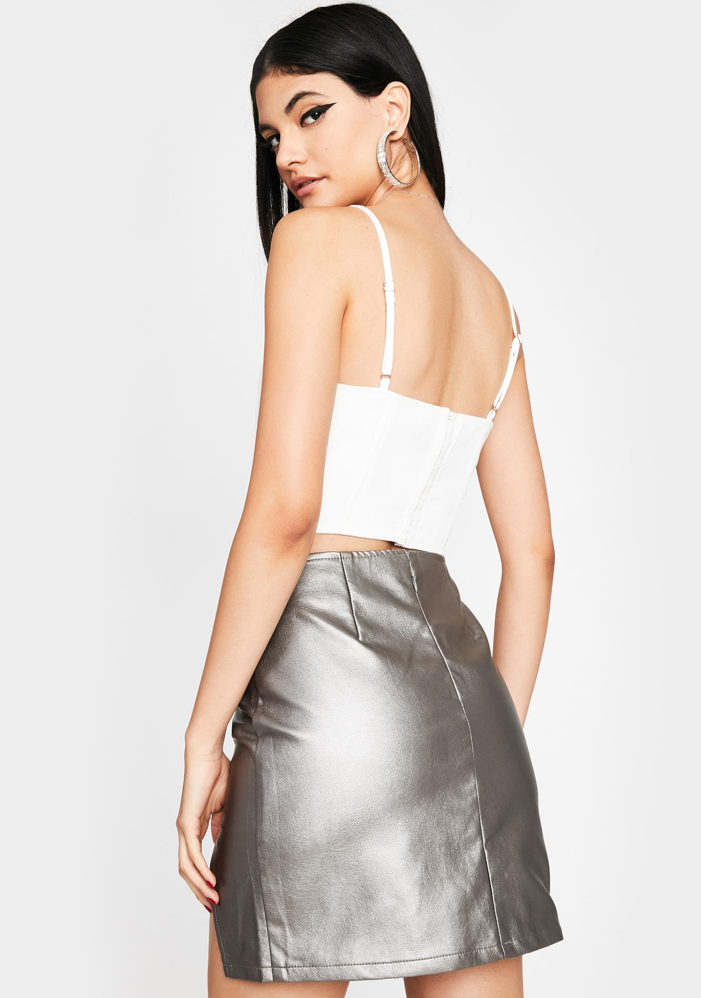 Slightly Obsessed Silver Mini Skirt