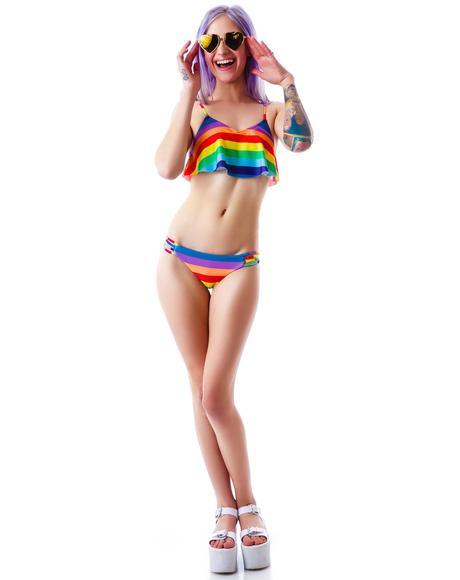 70's Rainbow Tankini Top