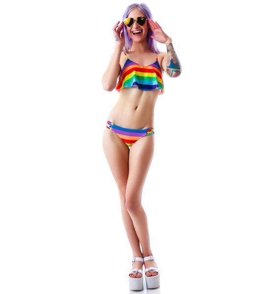 Wildfox Couture 70's Rainbow Tankini Top