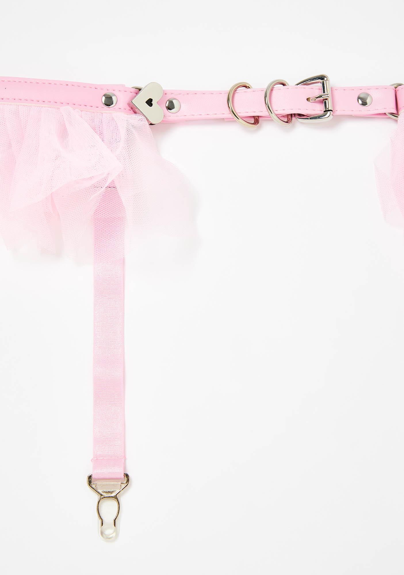 Blush Do The Splits Tulle Ruffle Garter Belt