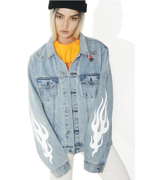 Girl Code Oversized Denim Jacket