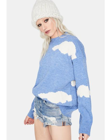Calm When It Rains Cloud Knit Sweater