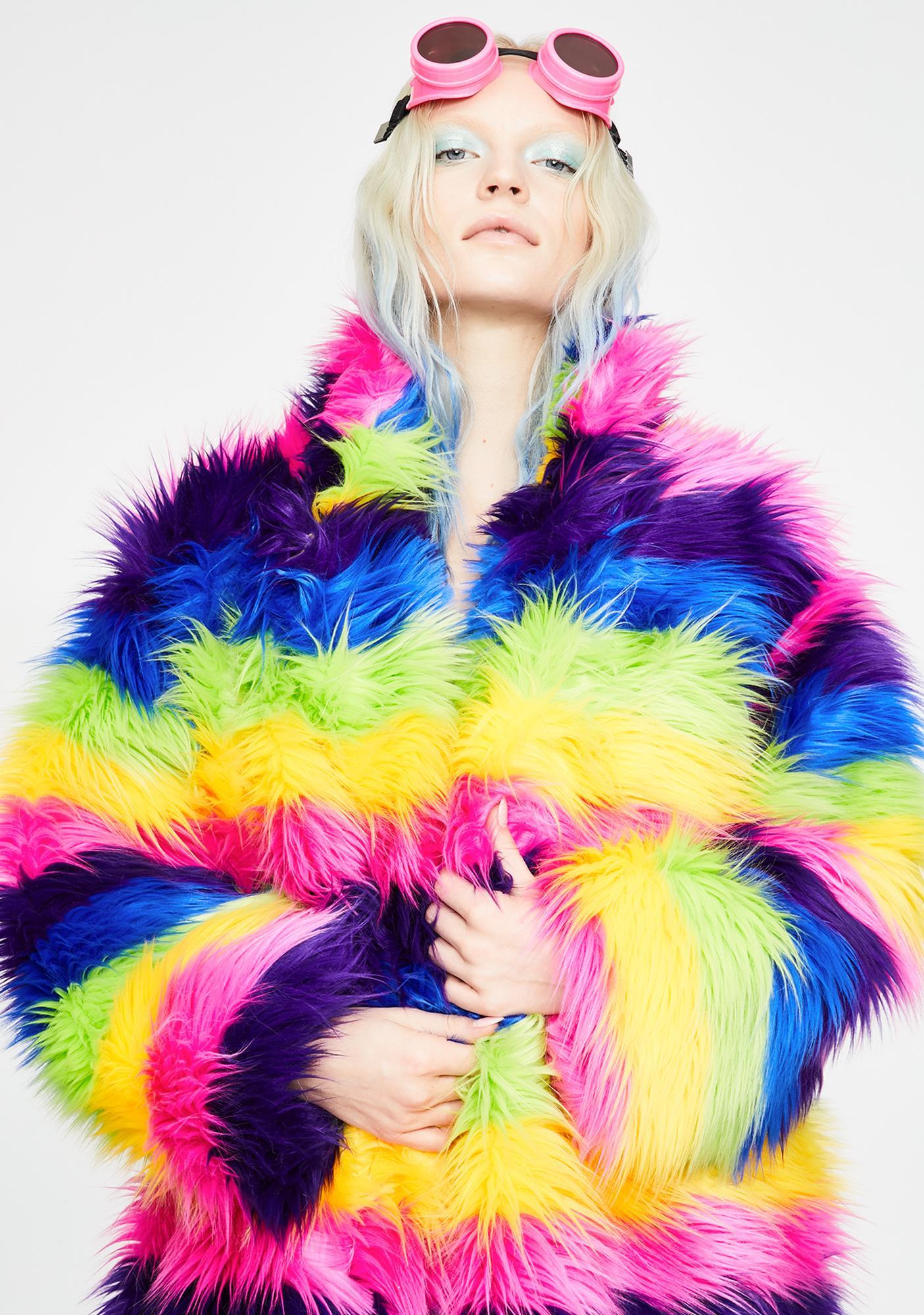J Valentine Taste The Rainbow Faux Fur Coat