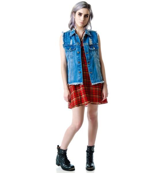 Crossed Out Destroyed Denim Vest