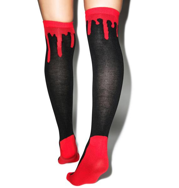 Drippy Blood Knee High Socks