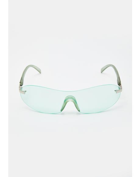 Green 2000s Shield Sunglasses