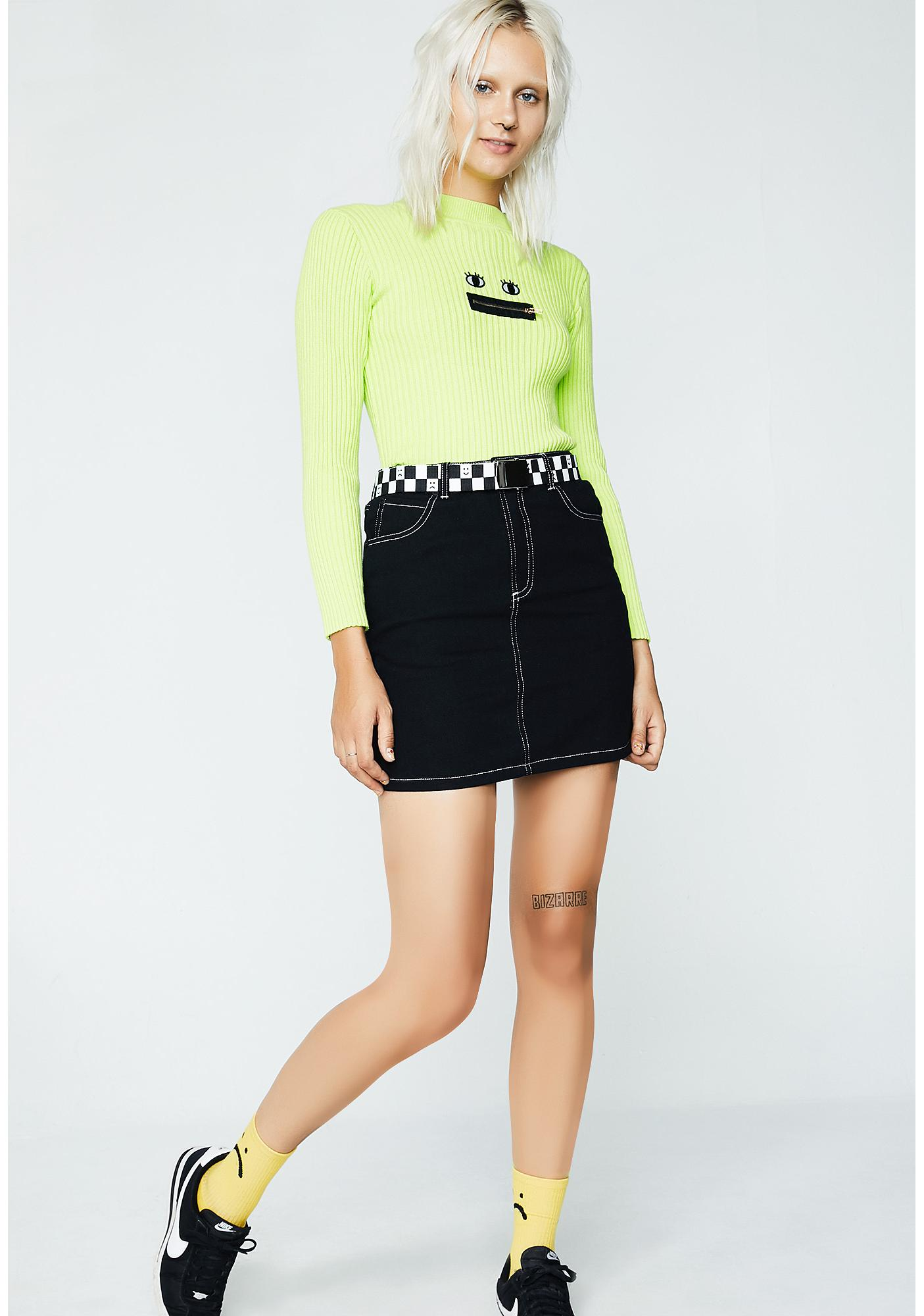 Lazy Oaf Contrast Stitch Fitted Skirt