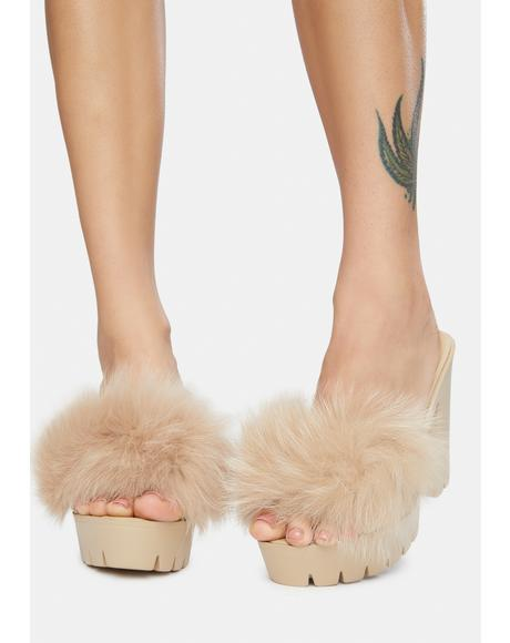 Latte Totally Buggin Feather Platform Heels