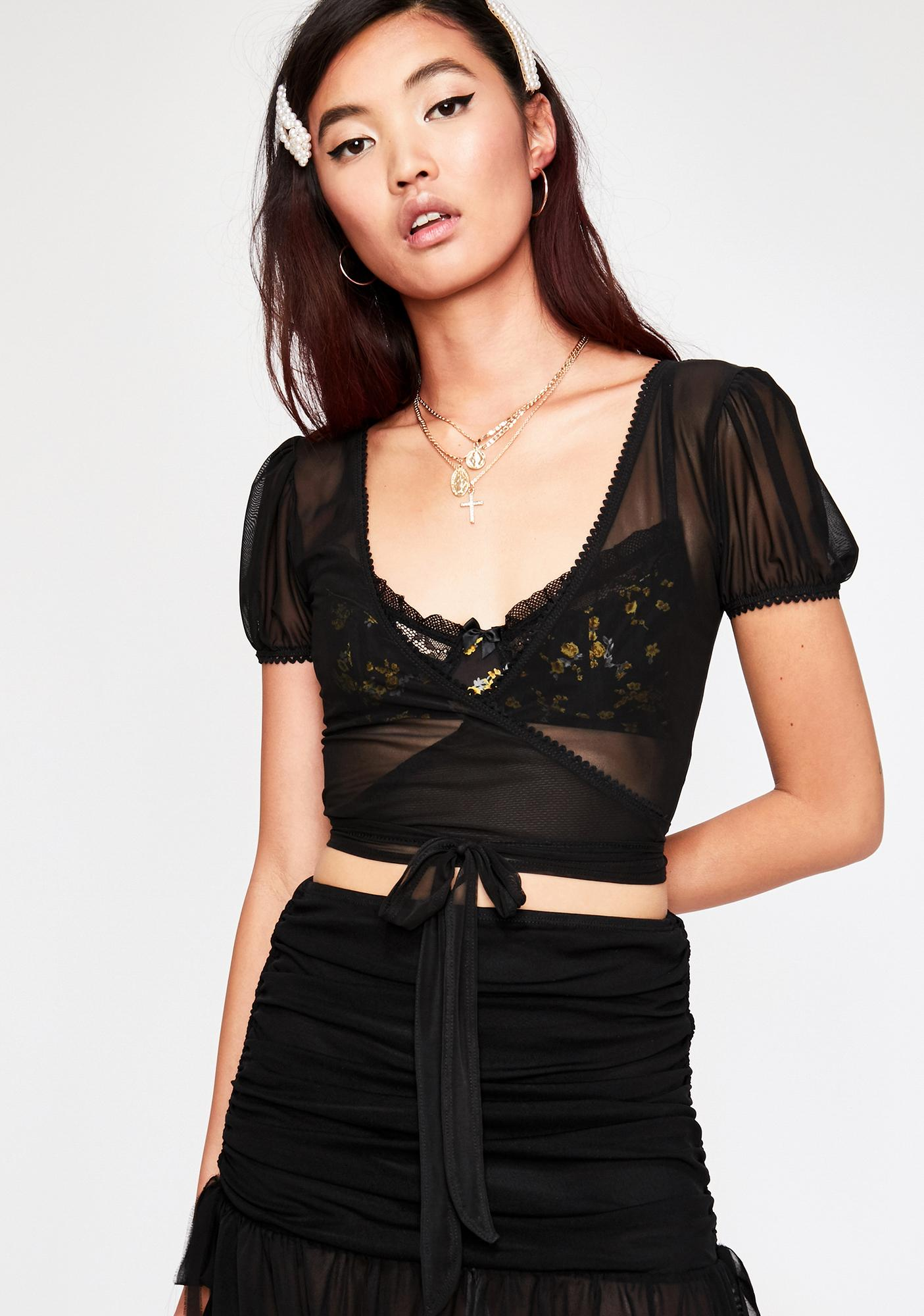 Current Mood Make You Mine Sheer Wrap Top