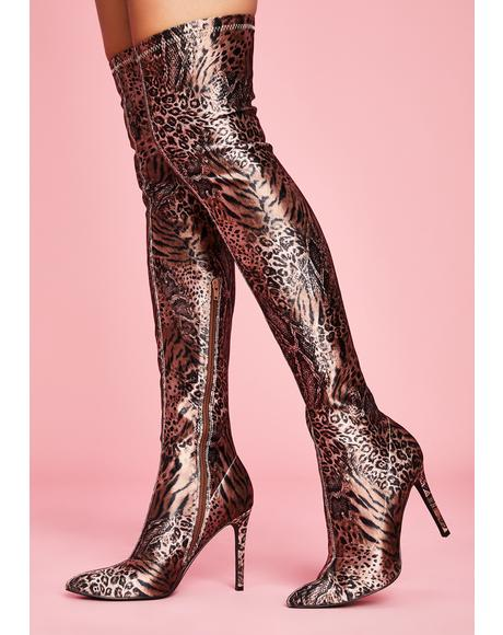 Fiercely Unphased Thigh High Boots