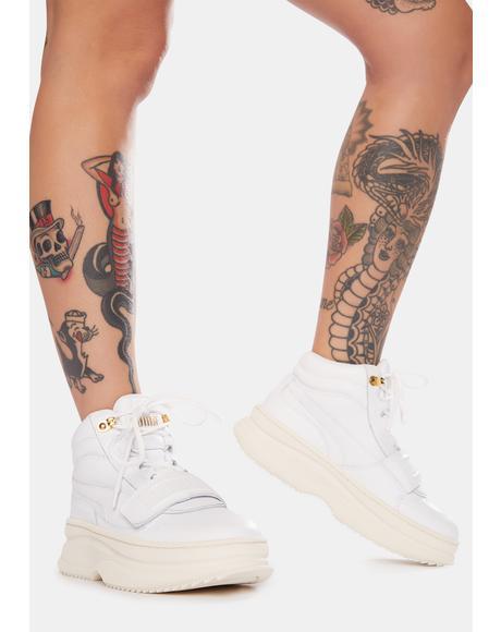 White Deva Mid-Top Boots
