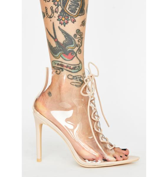 Clearly Toxic Bloodline Lace Up Heels