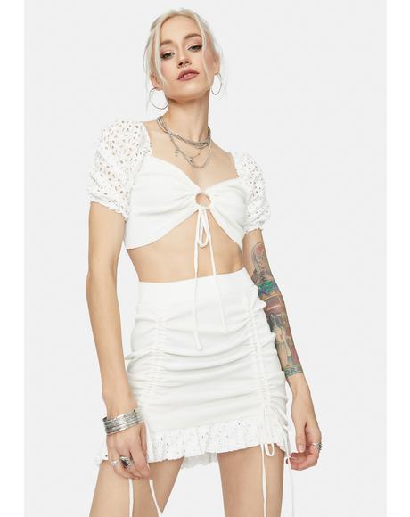 Snow Be My Baby Puff Sleeve Eyelet Skirt Set