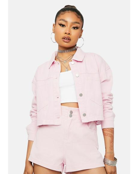 Buy Me Candy Cropped Denim Jacket