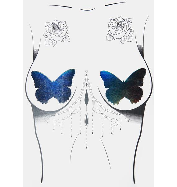 Neva Nude Rainbow Reflective Butterfly Pasties