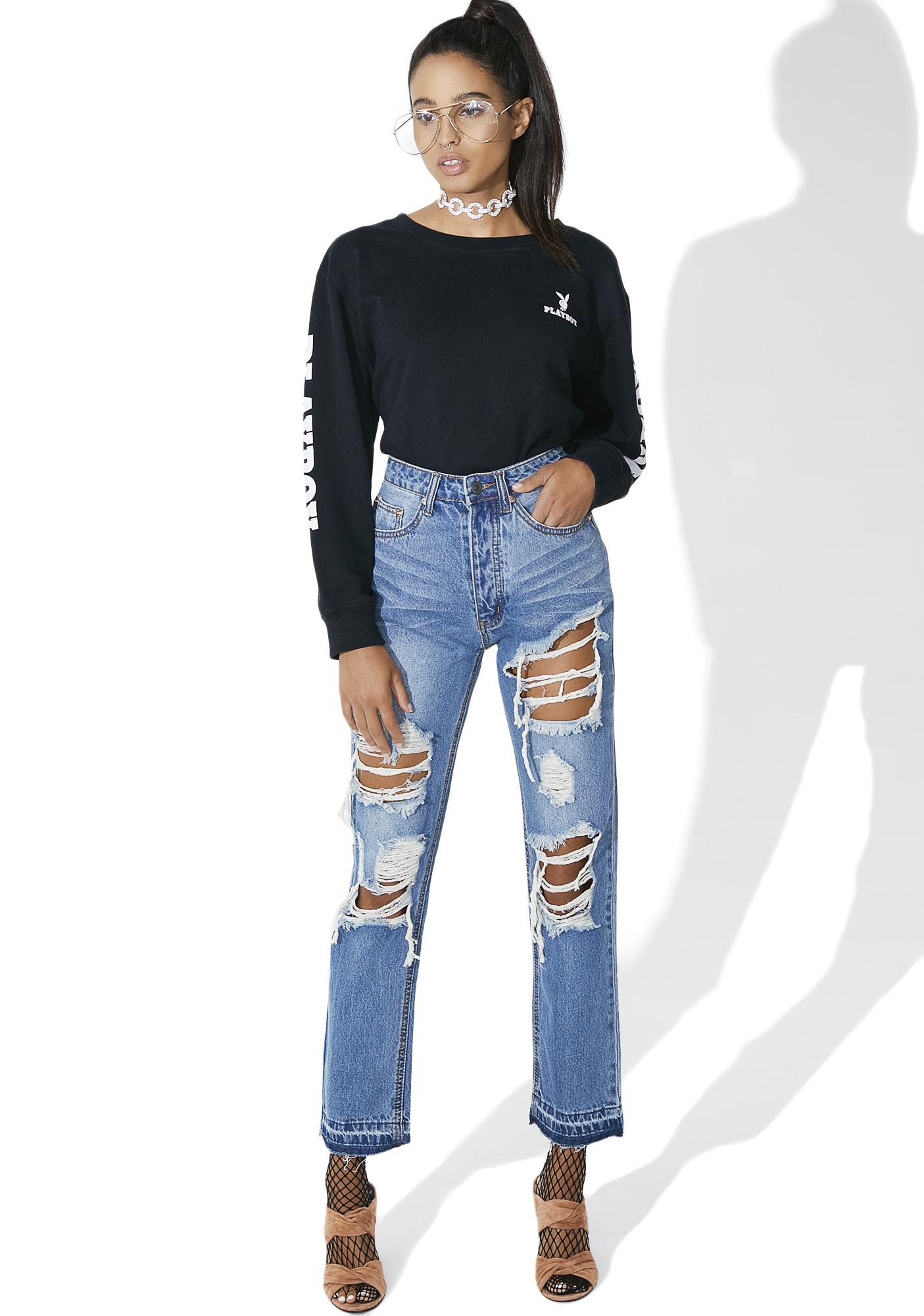 Isabelle Distressed High Waist Jeans | Dolls Kill