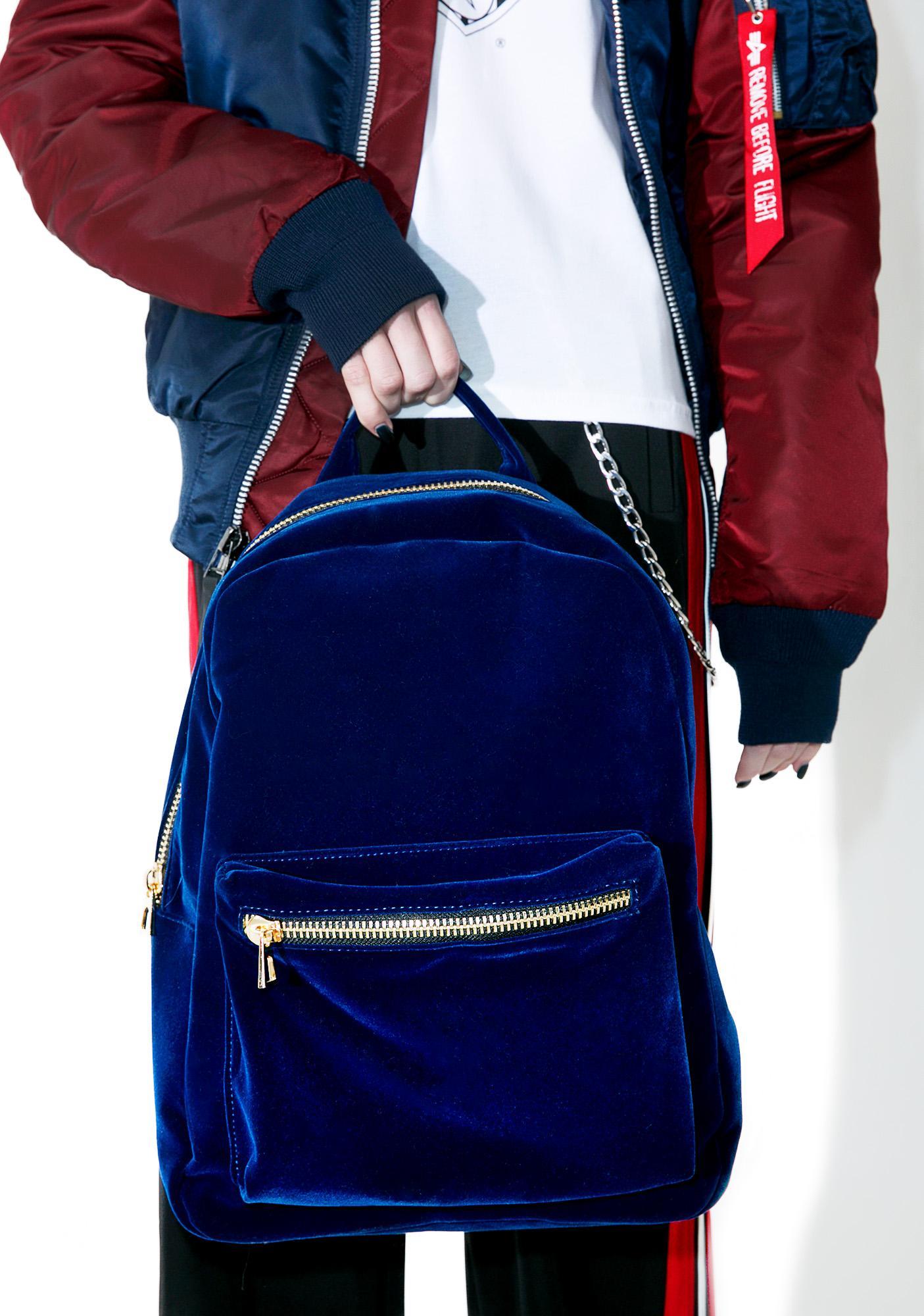 Blue Moon Velvet Backpack