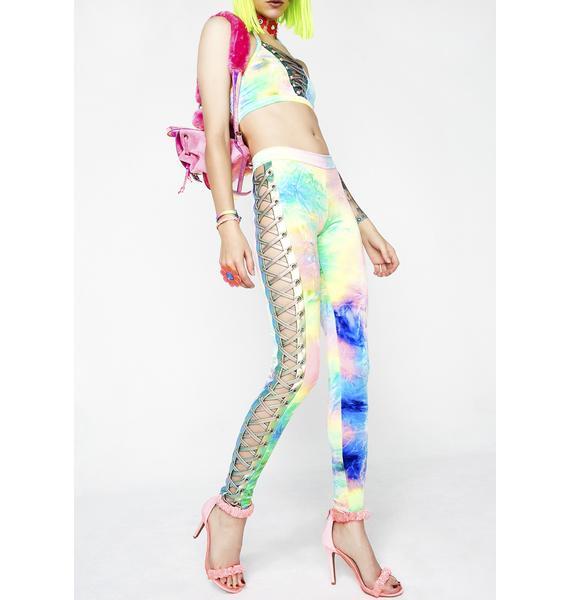 J Valentine Synesthesia Velvet Lace-Up Leggings