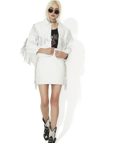 Vintage White Leather Fringe Jacket