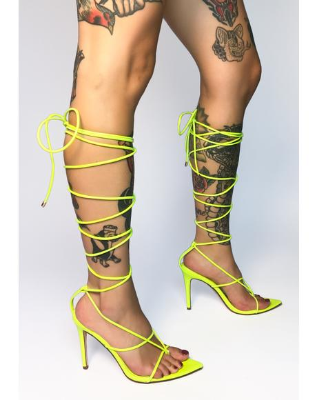 Neon Yellow Nappa Lace Up Heels